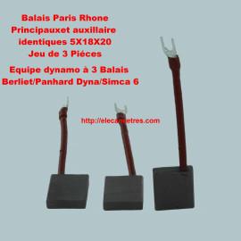 Balais Charbons PARIS RHONE pour dynamo à 3 balais