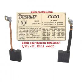 Balais Charbons DUCELLIER 75251 pour dynamo