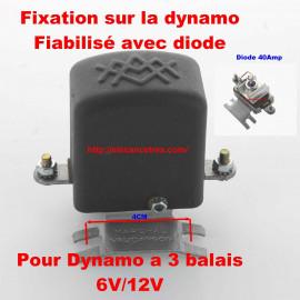 Conjoncteur dynamo MARCHAL 6V/12V à 3 balais - Fixation sur la dynamo