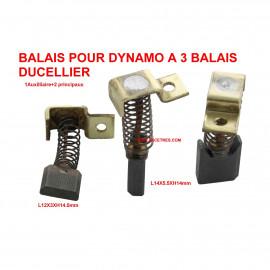 Balais Charbons DUCELLIER pour dynamo à 3 balais