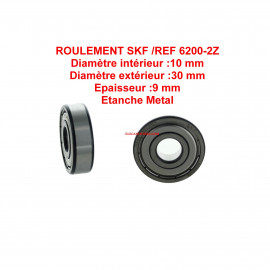 Roulement 10x30x9 - SKF 6200ZZ